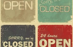 Vintage Retail Stop Open Closed Icons Vector