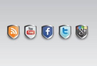 Metal Shield Up Social Media Icons PSD