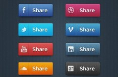 Simple and Clean Social Share Buttons PSD