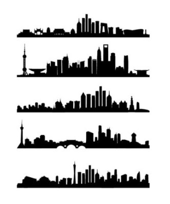 5 Modern City Vector Silhouettes