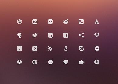 Minimal Social Glyph Icons PSD