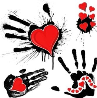 Vector Red Hearts In the Splash Handprints