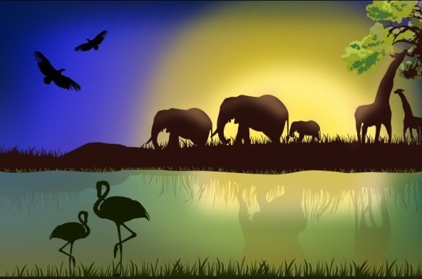 African Animals and Birds Landscape Vector Silhouette