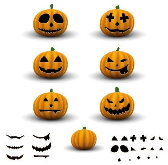 Cartoon Happy Halloween Scary Elements Vector 02