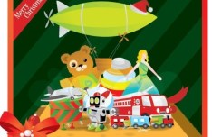 Flat Merry Christmas Card with Cartoon Christmas Gifts Vector