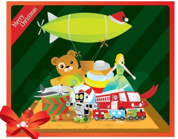 Flat Merry Christmas Card with Cartoon Christmas Gifts Vector