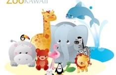 Vector Kawaii Zoo Animals