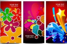 Set of Vector Elegant Vertical Banners with Colorful Backgrounds 02