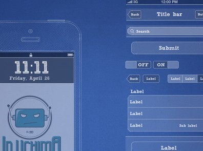 iPhone Blueprint Wireframe Kit PSD