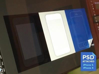 Minimal iPhone 4 iPhone 5 Mockup Templates PSD