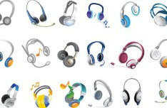 Set Of Colorful Headset Vector Icons