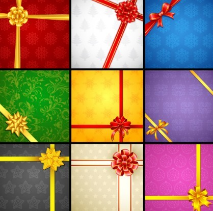 Vector Creative Holiday Backgrounds With Bows and Ribbons 02
