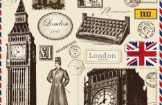 Vector Stamp and Postcard Set Of London Symbols 01