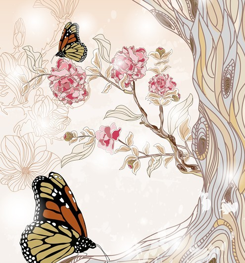 Classical Watercolor Painting Flower and Butterfly Background 01