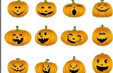Vector Halloween Pumpkin Emotion Icons