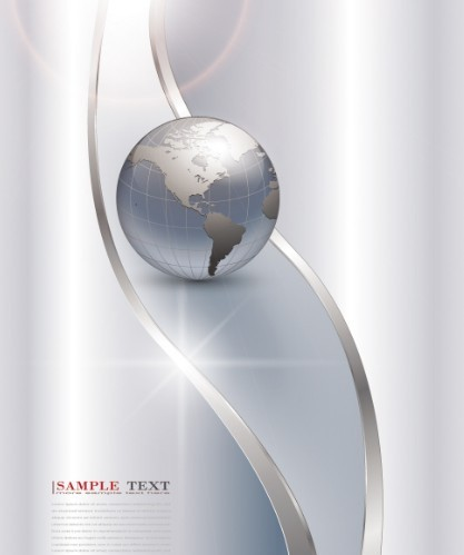 Vector Silver Earth with Wave Background 04