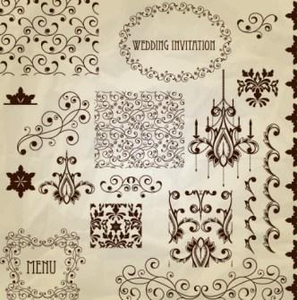 Vector Vintage Floral Border and Corner Design Elements 01