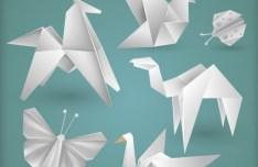 Vector White Origami Animals