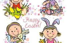 Cartoon Happy Easter Vector Illustration