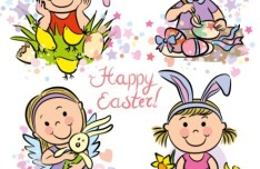 Cartoon Happy Easter Vector Illustration
