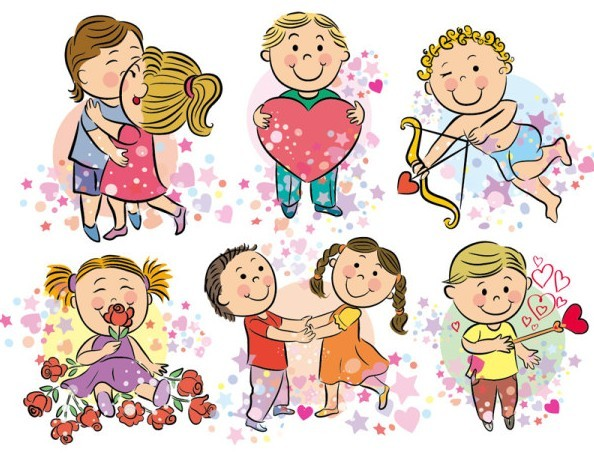 Cartoon Happy Valentine's Day Vector Illustration