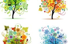 Clean Four Seasons Trees Vector 02
