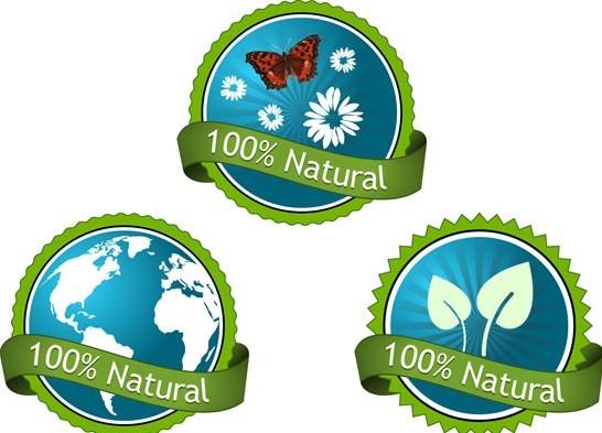 Green 100% Natural Concept Vector Sticker Labels
