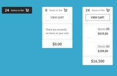 Clean Shopping Cart Widget Interface PSD