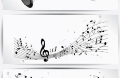 Set Of Vector Black Music Banners