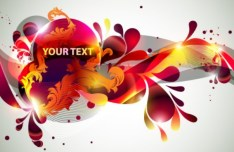 Vector Colorful Floral Text Background 01