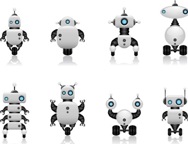 Cute Intelligent Robot Vector Design Materials 02