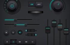 Dark Audio Controller UI Kit PSD