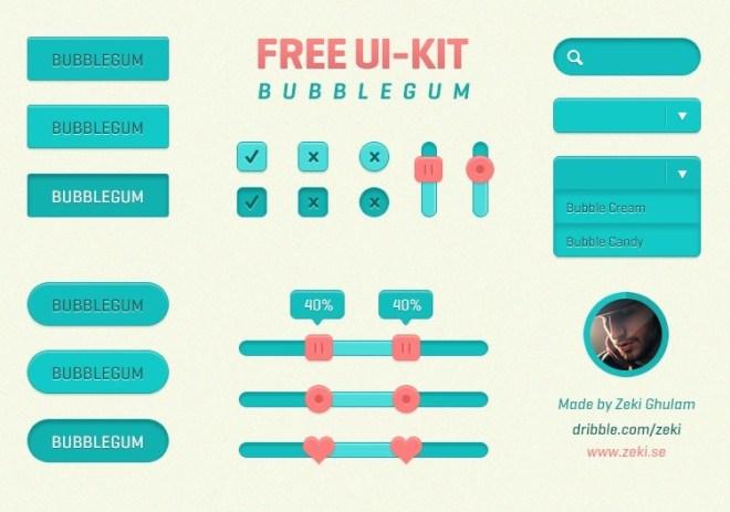 Flat Bubblegum Web UI Kit PSD