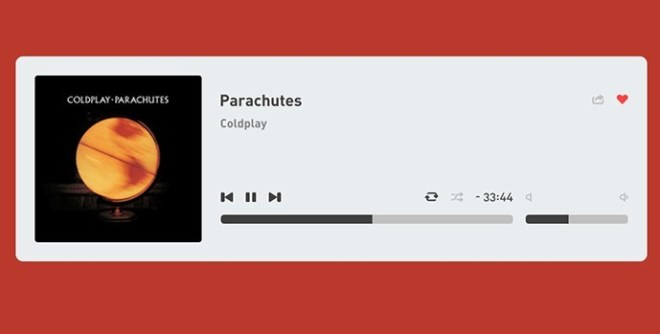 Flat and Clean PSD Music Player Interface