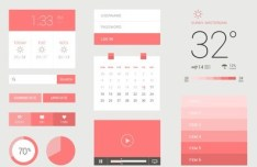 Clean and Pink Flat Web UI Kit PSD