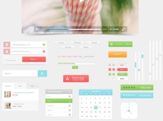 Fresh and Clean Beach Web UI Kit PSD