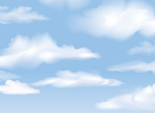 Vector Blue Sky with White Clouds Background 01