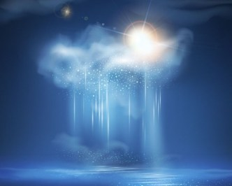 Vector Blue Sky with White Clouds Background 03