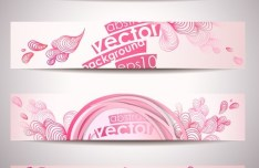 4 Vector Lovely Pink Banners with Abstract Backgrounds
