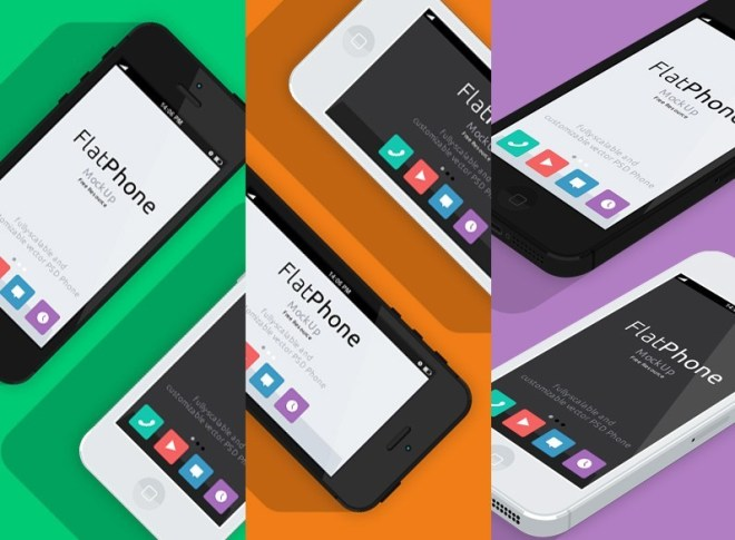 Flat Style White and Black iPhone 5 Mockup PSD