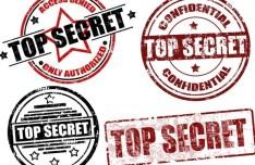 Set Of Vector Retro Top Secret Seals and Labels