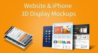 Website & iPhone 5 3D Display PSD Mockups