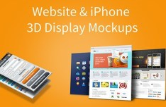 Website & iPhone 5 3D Display PSD Mockups