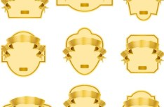 Golden Blank Badge & Label Design Templates 01