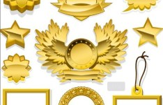 Golden Blank Badge & Label Design Templates 02