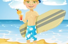 Vector Cartoon Beach and Boy Illustration 01