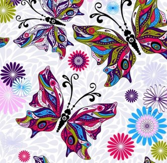 Vector Colorful Butterfly Background 01