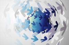 3D Blue Globe Background Design Vector 02
