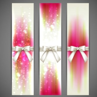 Fresh and Clean Vector Banners with Ribbon Bows 01