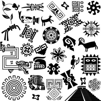 Vector Black and White Ancient Egypt Patterns 04
